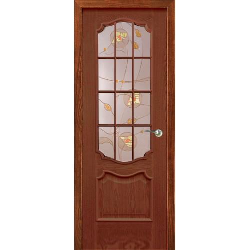 Анкона, Со стеклом, с решеткой Красное дерево, Витраж Колосья