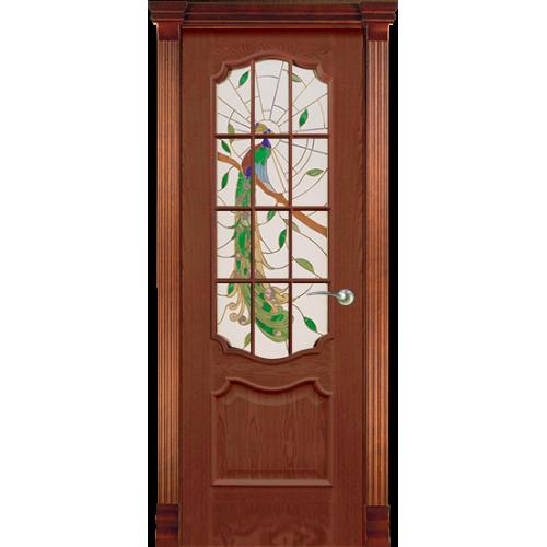 Анкона, Со стеклом, с решеткой Красное дерево, Витраж Павлин