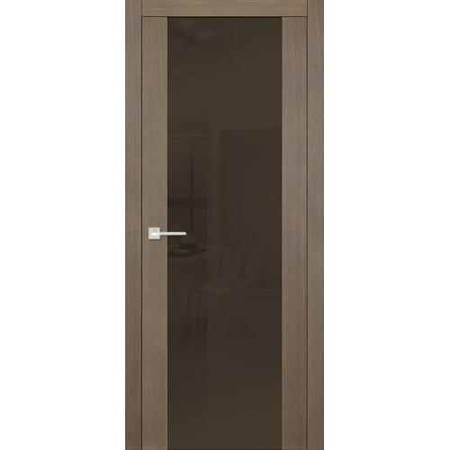 Дверь Quadro 6017 Дуб Дымчатый темное стекло
